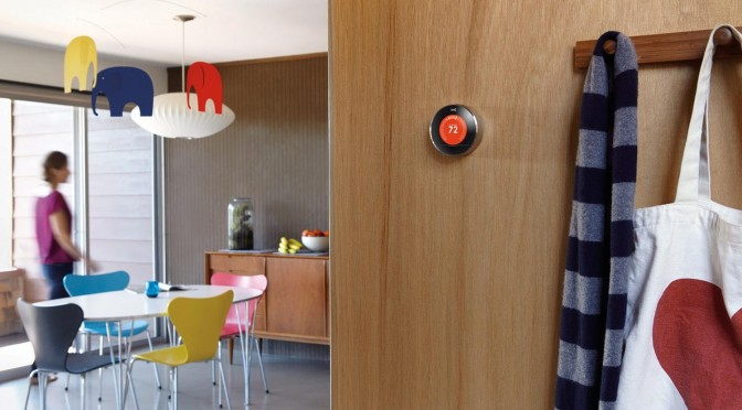Nest smart thermostat installed in a home