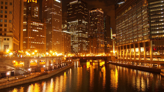 Chicago at night, with lights
