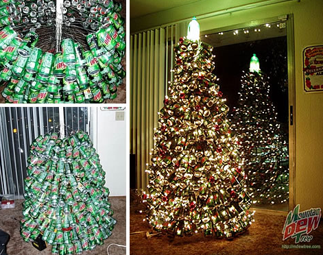 Christmas tree made from recycled soda cans